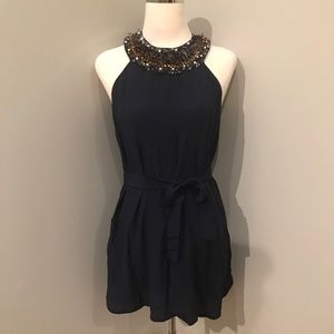 French Connection Navy Silk Mini, beaded, size 6